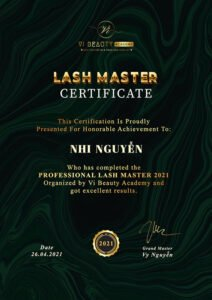 lash master certificate 2021 vy beauty academy